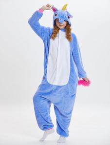 Disfraz Carnaval Pijama Unicornio 2020 Kigurumi Onesie Franela Azul Monos Largos Adultos Unisex Animal Sleepwear Halloween Carnaval