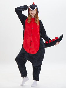 Disfraz Carnaval Dinosaurio Kigurumi Onesie Pijamas Franela Mono negro con capucha Unisex Animal adulto Ropa de dormir Carnaval