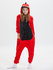 Costume Carnevale Kids Dinosaur Kigurumi Onesie Pigiama Flanella Rosso Tute Unisex Animal Sleepwear con cappuccio