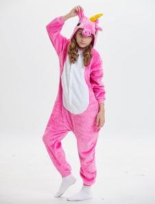 Disfraz Carnaval Unicornio Kigurumi Onesie Pijamas Niños Franela Rosa con capucha Mono largo de manga Unisex Animal Pijamas Halloween Carnaval