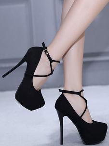 Tacones de aguja negro plataforma de gamuza almendra cruzada tacón de aguja zapatos atractivos para las mujeres