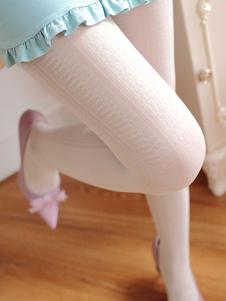 Lolita doce meia-calça Jacquard de seda branco Lolita calças justas