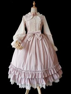 الكلاسيكية لوليتا jsk infanta العشب قص الرباط تريم القوس كشكش الشريط حجاب الوردي لوليتا البلوز تنورة