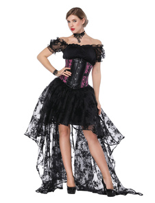 Costume Carnevale Gonna e corsetto asimmetrico di Halloween Black Women