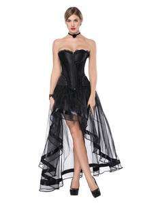 Traje gótico Halloween Black Corpse Nupcial Mulheres Saia Assimétrica Sem Alças E Espartilho