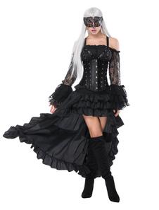 O vintage das mulheres de Steampunk do traje do Dia das Bruxas enegrece o baixo espartilho e a saia altos dos plissados