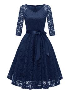 Laço vestido vintage v pescoço arcos vestido de festa de cor sólida