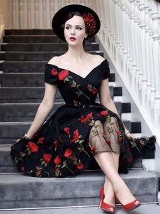 الأسود خمر اللباس 1950s قبالة الكتف زهرة مطرزة تول اللباس العودة للوطن 2020
