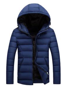 الرجال Puffer معطف مقنع مبطن معطف زيبر كم طويل معطف الشتاء البوليستر
