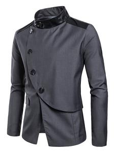 Мужчины вскользь Blazer PU лоскутное одеяло воротник кнопки Surplice Slim Fit Blazer Jacket