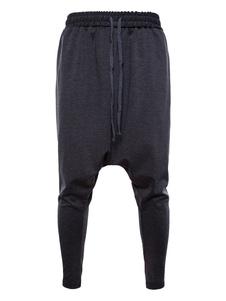 Hombre Pantalones de Harem 2020 Oscuro Gris Estrecho Ajustado Pantalones de Entrepierna Caída de Algodón