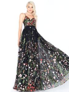 Vestido maxi preto floral vestido de noite bordado vestido de festa de tule