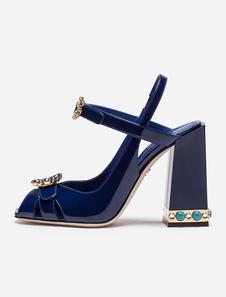 Сандалии женщин партии Peep Toe Strappy Rhinestone Bead Deep Blue Короткие туфли на высоком каблуке