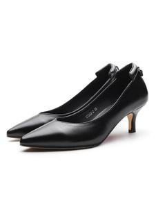 Décolleté a punta delle donne Nero Bowknot Slip On PU Kitten Heel Shoes