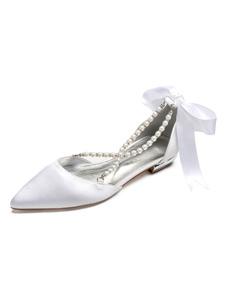 وأشار اصبع القدم مضخات الزفاف الساتان القوس القوس بيرل Strappy الأبيض أحذية الكعب جرو الزفاف