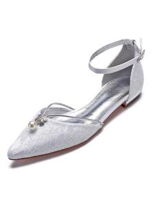 أحذية الزفاف الدانتيل واشار تو بيرل حجر الراين رباط الكاحل الأبيض أحذية الزفاف