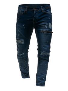 Jeans Dritti Da Uomo 2020 Jeans Strappati Blu Jeans Denim Con Cerniera