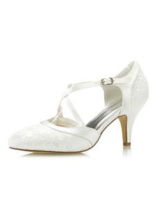 أحذية الزفاف العاج الرباط أشار تو كريسس الصليب خمر أحذية الزفاف المرأة الكعوب العالية