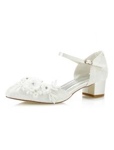 أحذية الزفاف العاج الرباط أشار تو الزهور مطرز مشبك أحذية الزفاف بالتفصيل