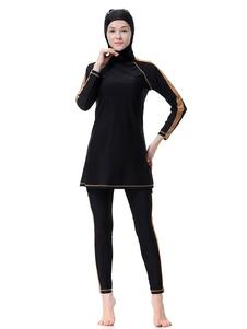Traje de baño musulmán de mujer de manga larga con dos tonos de Burkini con capucha de nylon