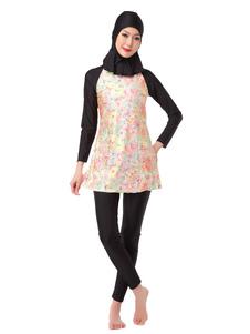Manga larga del traje de baño musulmán de nylon impreso Burkini de 3 pedazos