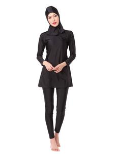 Bañador musulmán Mujeres manga larga Nylon color sólido Burkini