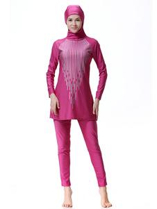 Bañador musulmán Mujeres manga larga a rayas Burkini con capucha