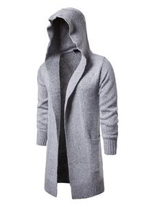 Мужские кардиганы пальто трикотажные с капюшоном Slim Fit Longline кардиган свитер
