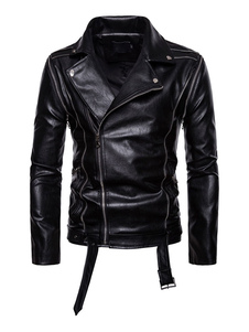 Черная байкерская куртка Surplice Zipper Съемная рукавная пряжка Мужская кожаная куртка