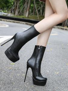 Botas de Tornozelo preto Mulheres Sexy Botas de Amêndoa Zip Up Estampados Stiletto Sapatos de Salto Alto