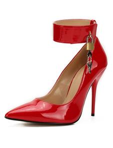 Sapatos 2020 Sexy Vermelhos Sapatos De Salto Alto Bombas De Metal Com Salto Agulha Décolleté Com Tira No Tornozelo