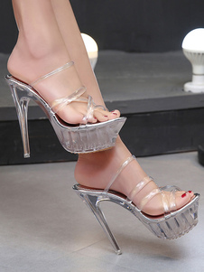 Sapatos Sexy Transparente Mulheres Sandálias Abertas Toe Stiletto Sandálias de Salto Alto Sandália Chinelos