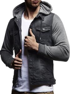 Jaqueta com capuz de homens afligido jaqueta bolso Denim jaqueta jeans estilo ocidental