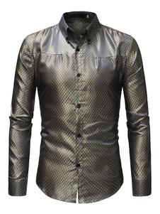 Camisa formal de manga larga con estampado de jacquard camisa formal de hombre