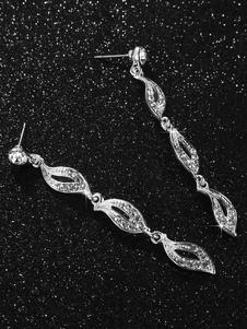 Orecchini di nozze in argento con strass lascia gioielli da sposa