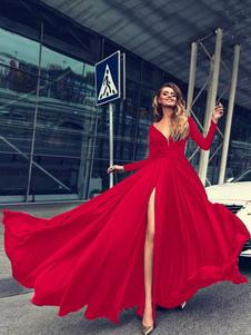 Maxi Dress Red Long Sleeve V Neck High Split Buttons Formal Dress For Women