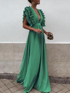 Vestiti Lunghi Verde Abiti Lunghi increspato in chiffon monocolore smanicato Vestiti Lunghi Eleganti con scollatura profonda Abiti