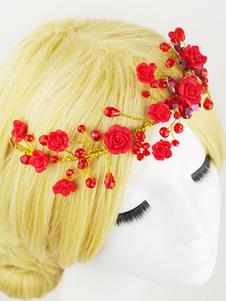 أغطية الرأس الزفاف الأحمر زهرة الديكور اكسسوارات الشعر الزفاف