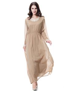 Vestido musulmán de cuello redondo de manga larga con cuello gasa Abaya
