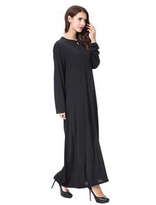 Vestido musulmán de manga larga con corte negro de Abaya vestido