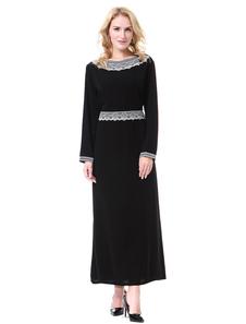 Vestido de manga larga Abaya con apliques de dos tonos Vestido musulmán