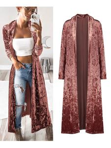 Velour Duster Coat manica lunga Turndown Collar Open Front Longline Coat per le donne