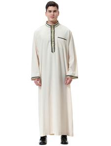 Arabian Men Robe Stand Colletto Applique Frill Manica lunga Ecru Bianco Arabian Abaya