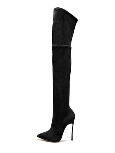 Черные над сапогами для колен Женщин с остроконечным носком Высокие сапоги на высоком каблуке