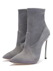 Botas 2020 De Salto Alto Cinza Sapatos Elegantes Femininos Salto Agulha Em Camurça Com Ponta De Dedo Apontada