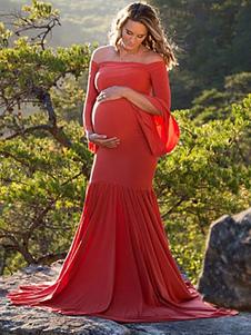 Vestiti Lunghi Rosso  Abiti Lunghi Cotone misto monocolore maniche lunghe sirena Vestiti Lunghi Eleganti con spalle scoperte Abiti