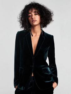 Бархат Blazer куртка с длинным рукавом кнопки женщин повседневная куртка Blazer падения