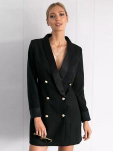 ブレザー ブラック  ポリエステル トレンチコート レディースアウター 長袖 折り襟 ボタン 無地 シック&モダン レディースファッション