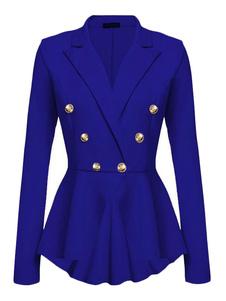 ブレザー ネイビーブルー ポリエステル トレンチコート レディースアウター 長袖 折り襟 シェイプアップ ボタン 無地 レディースファッション シック&モダン