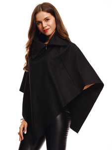 Mulheres Cape Coat Meia Manga Turndown Collar Zip Oversized Casaco Poncho